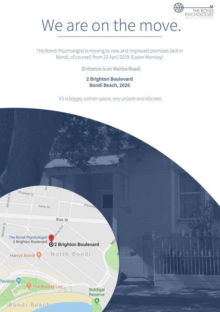 Bondi Psychologist new address Orchard St Clinic Bondi Beach